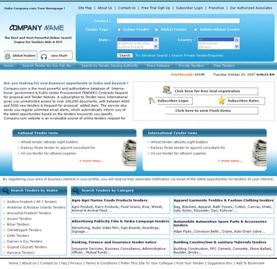 Online Tenders Website Design, Development for Client